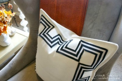 DIY Greek Key Ribbon Pillow | Living Savvy