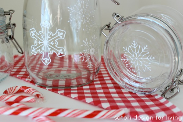 DIY Snowflake Glass Canisters- Glass Paint Tutorial
