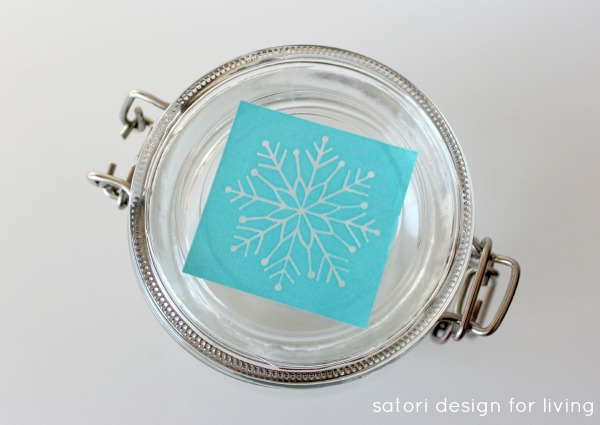 Glass Paint Tutorial - Snowflake Glass Canisters - Satori Design for Living