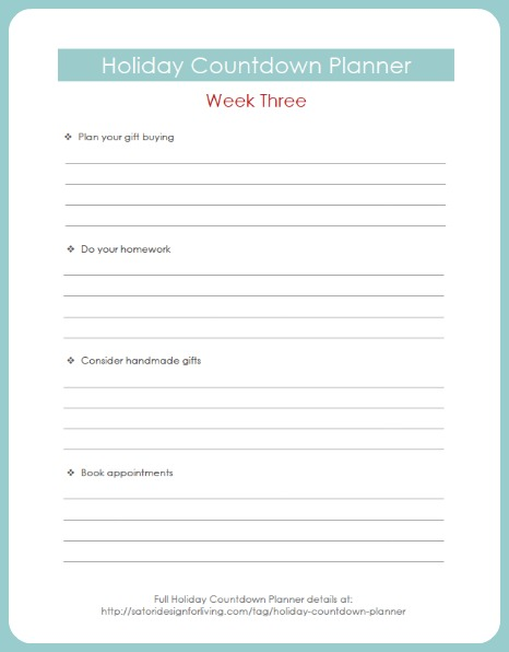 Holiday Countdown Planner Printable Week Three - Satori Design for Living