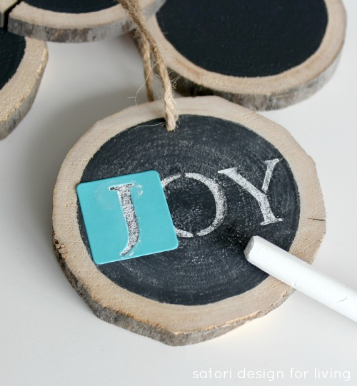 JOY Log Slice Chalkboard Ornament - Learn how to make these log slice chalkboard ornaments on SatoriDesignforLiving.com