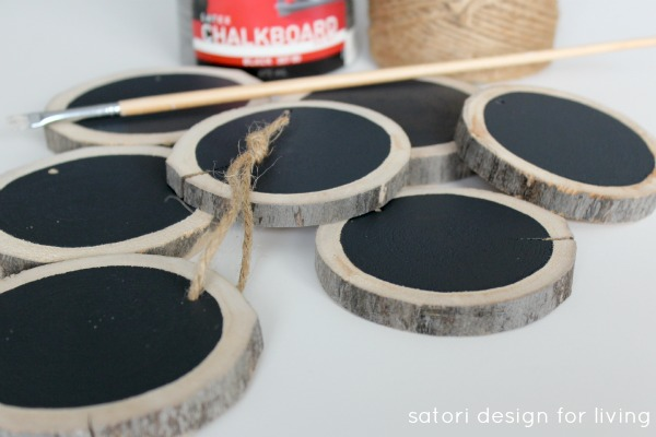 How to Make Log Slice Chalkboard Ornaments by Satori Design for Living