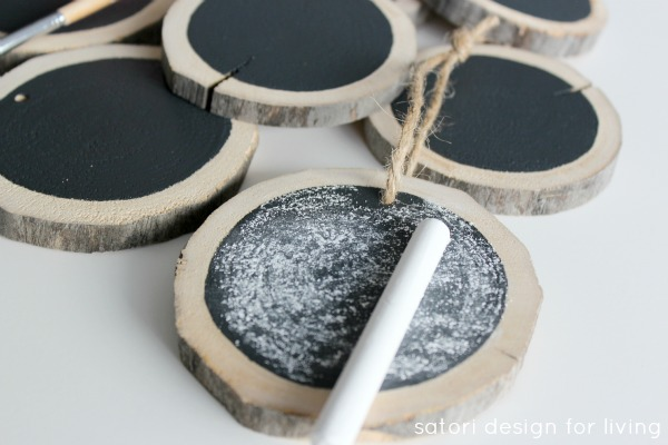 Log Slice Chalkboard Ornaments | How to Prime a Chalkboard | Satori Design for Living