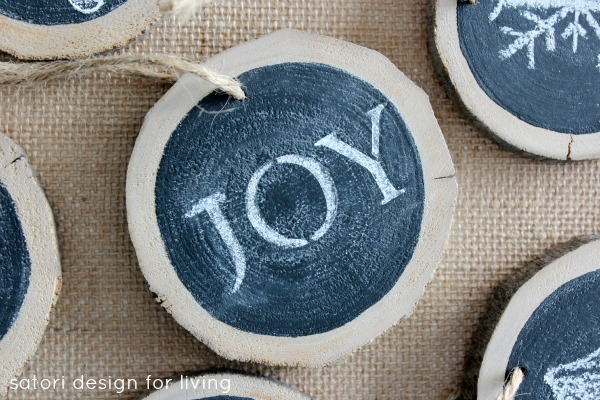Log Slice Chalkboard Ornaments for Christmas - Satori Design for Living