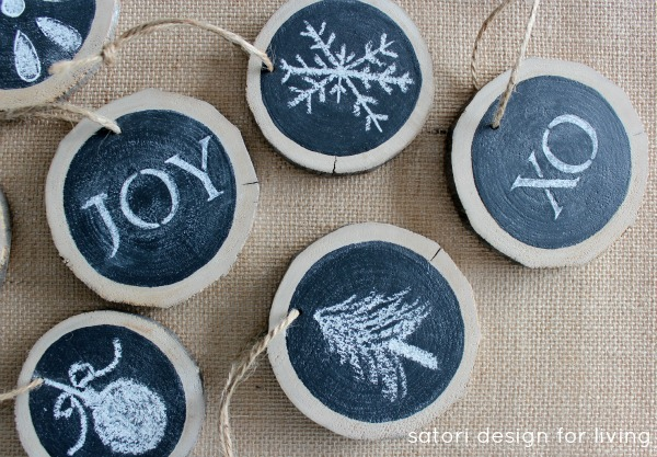 Log slice chalkboard ornaments satori design for living