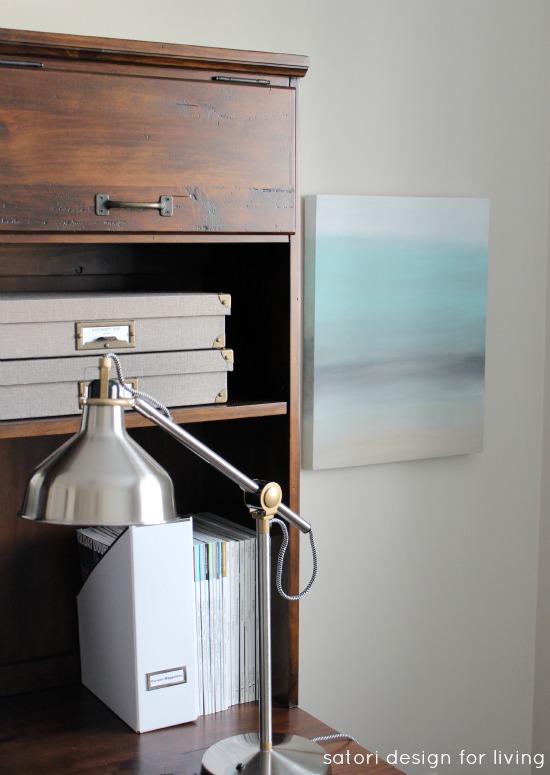 Office Makeover- DIY Art Canvas, RANARP work lamp, Printer's Keyhole Desk