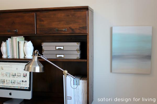 Office Makeover- Easy Art Canvas Redo - Satori Design for Living