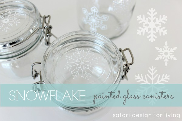 Snowflake Painted Glass Canisters DIY using glass paint