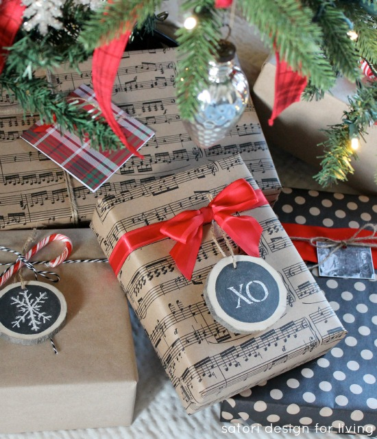 Christmas gift wrap with log slice chalkboard ornaments