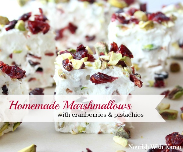 Homemade Marshmallows with Cranberries and Pistachios