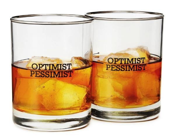 Optimist Pessimist Cocktail Glasses   Satori Design for Living