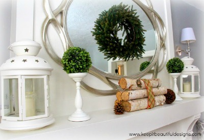 Simple White and Green Christmas Mantel - Keeping it Beautiful