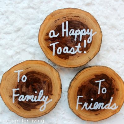 These wood slice drink coasters are perfect for holiday entertaining or as hostess gifts. Inexpensive and easy to make!