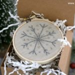 Handmade Gifts | hand-stitched snowflake embroidery hoop ornament