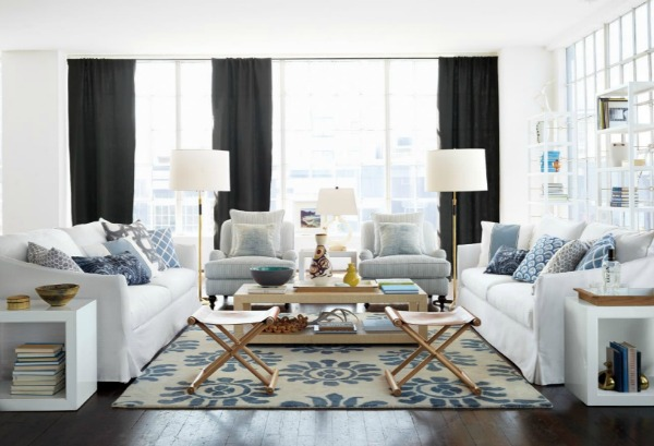 Blue and White Living Room - Serena & Lily