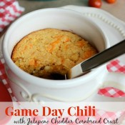 Game Day Chili with Jalapeno Cheddar Cornbread Crust