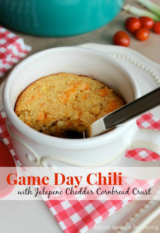 Tasty Recipes to Get More Vegetables in Your Diet - Make this game day chili with jalapeno cheddar cornbread crust topping!