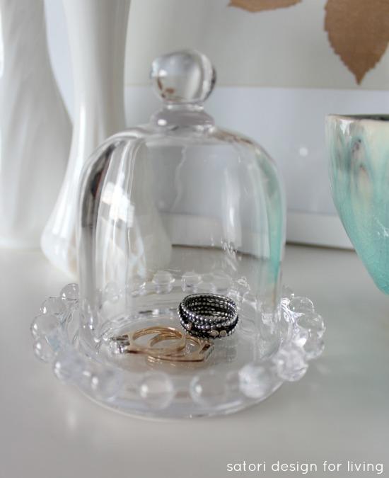 Repurposed Depression Glass Butter Dish to Jewelry Cloche | Satori Design for Living