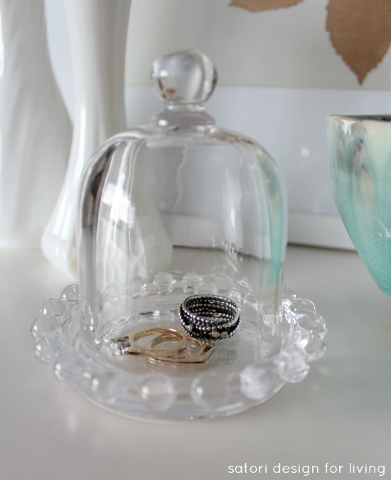 Repurposed Depression Glass Butter Dish as Jewelry Cloche