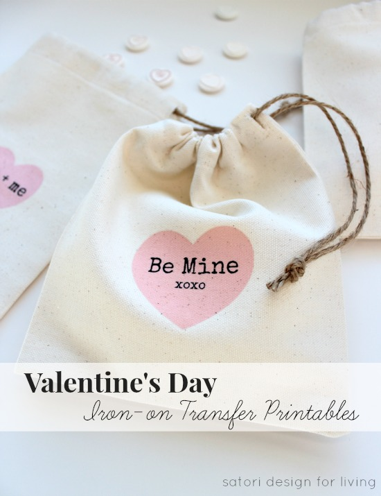 Valentine's Day Gift Bags with Iron-on Transfer Printables - SatoriDesignforLiving.com