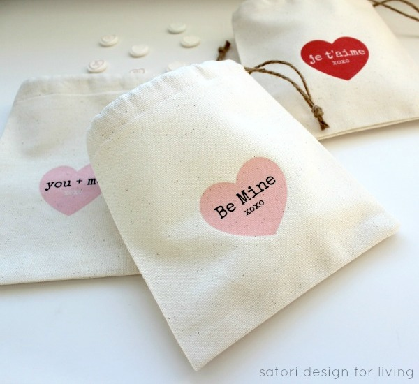 Valentine's Day Loots Bags with Iron-on Transfer Printables | Satori Design for Living