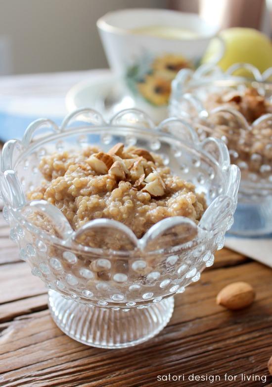 Quinoa Pudding with Coconut Milk and Chopped Almonds - Satori Design for Living
