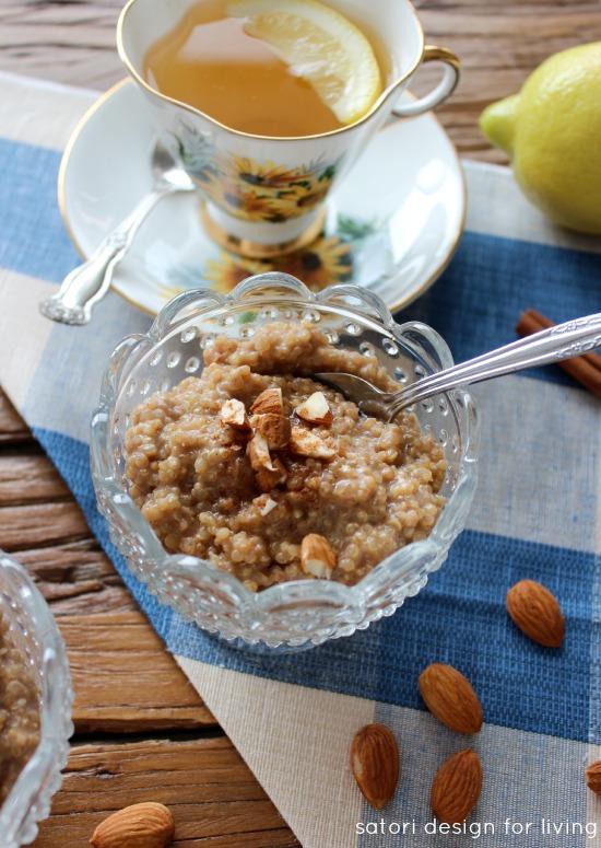 Coconut Quinoa Breakfast Pudding in Glass Bowl - Satori Design for Living