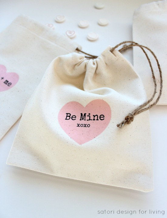DIY Valentines Day Treat Bags - Drawstring Fabric Bags with Iron-on Transfer Printables - Satori Design for Living