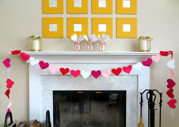 Valentines Day Mantel