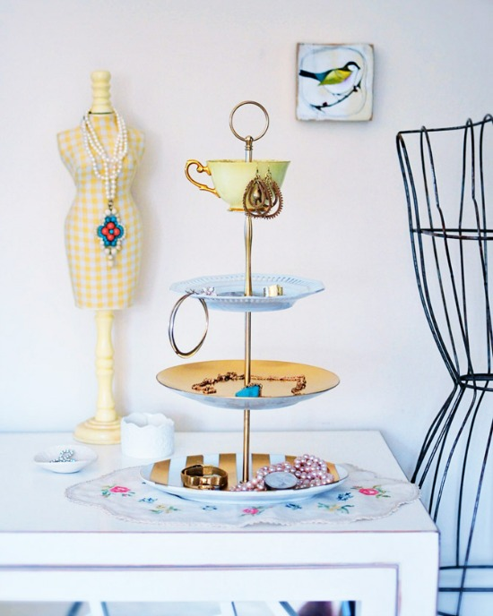 DIY Tiered Stand Jewelry Holder - Go Make Me