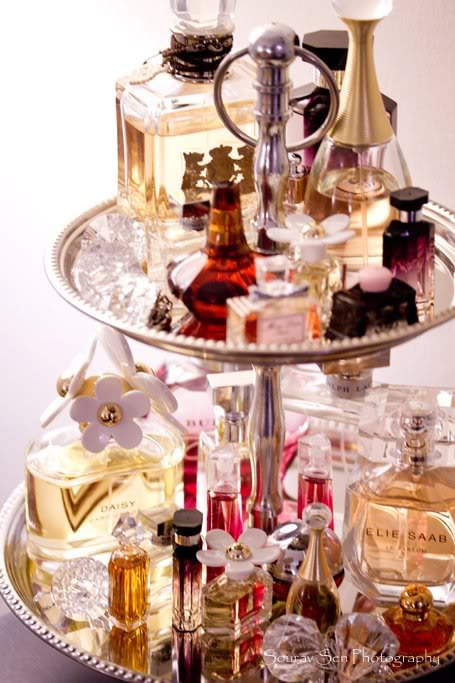 Tiered Stand with Fragrances via Dazzle-n-Sparkle