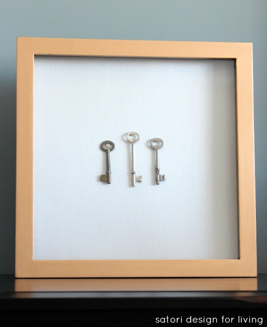 Gold Gilded Shadow Box with Vintage Keys | Satori Design for Living