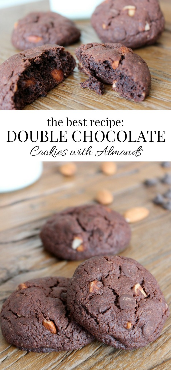 Self-proclaimed chocoholic? Make these sinfully rich and decadent double chocolate almond cookies. Totally worth the splurge! Recipe at SatoriDesignforLiving.com