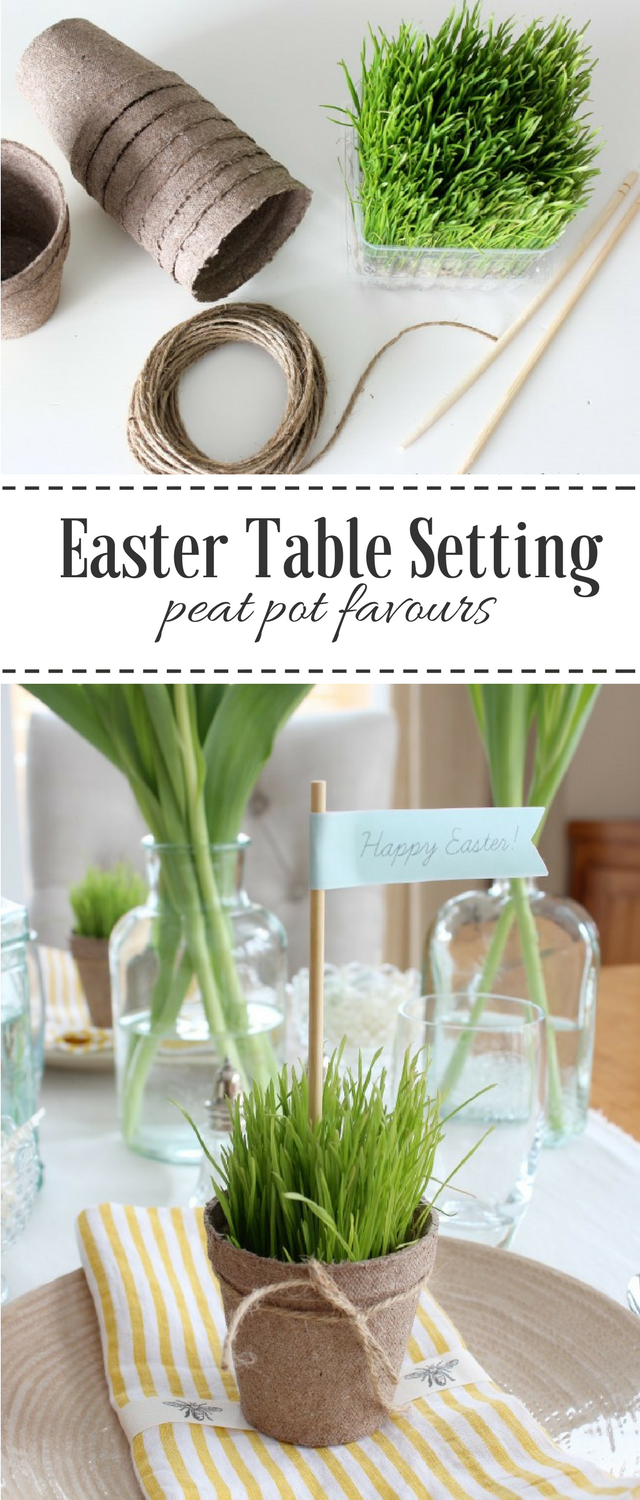 Create a Nature Inspired Easter Tablescape with Wheatgrass Peat Pots #Easter
