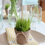 Nature Inspired Easter Tablescape with Wheatgrass Peat Pots - Satori Design for Living