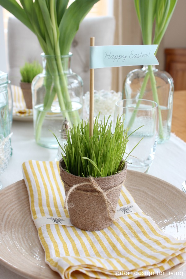 Nature Inspired Easter Table Setting with Wheatgrass Peat Pots - Satori Design for Living