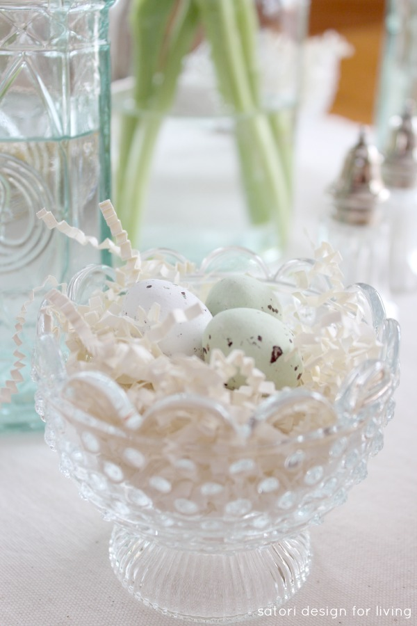Nature Inspired Easter Decor - Glass Bowl Nests with Speckled Chocolate Eggs - Satori Design for Living