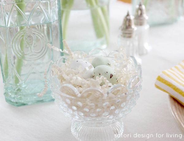Nature Inspired Easter Tablescape - Glass Bowl Nests with Speckled Chocolate Eggs - Satori Design for Living