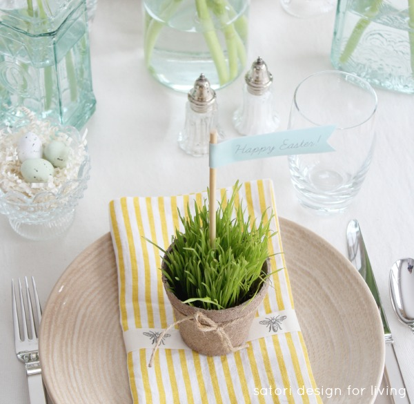 Nature Inspired Easter Tablescape with Peat Pots