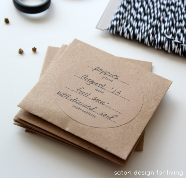 Create Your Seed Packets With Printable Labels to Keep or Give Away - Satori Design for Living