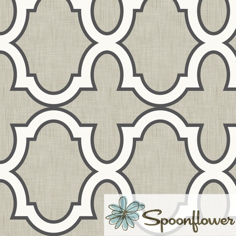 Claudette Linen Charcoal fabric on Spoonflower