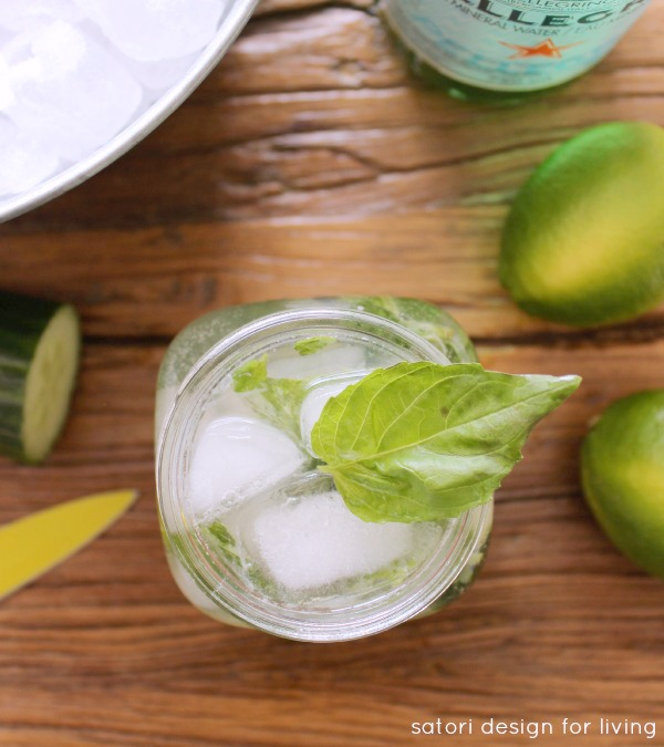 Refreshing Basil Cucumber Mojito - Low Calorie Cocktail Made with Fresh Ingredients - Satori Design for Living