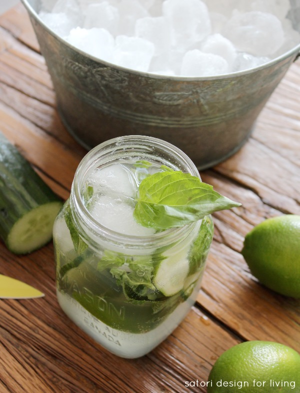 Summertime Drinks | Refreshing Basil Cucumber Mojito | Low Calorie Cocktail Made with Fresh Ingredients | Satori Design for Living