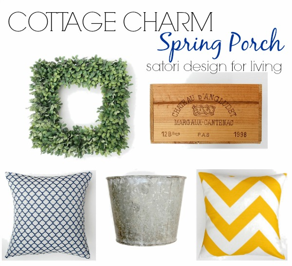 Cottage Charm Spring Front Porch - Come see how this collection of vintage and new decor was used to decorate a front porch to welcome spring!