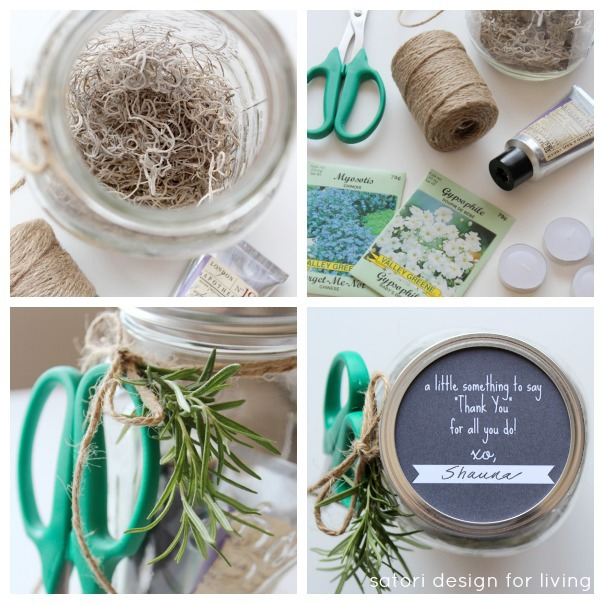Easy Garden Themed Hostess Gift with Mason Jar Printable | Satori Design for Living