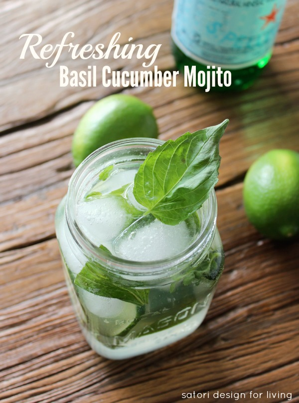 Fresh Herb Summer Cocktail Recipes - Refreshing Basil Cucumber Mojito by Satori Design for Living