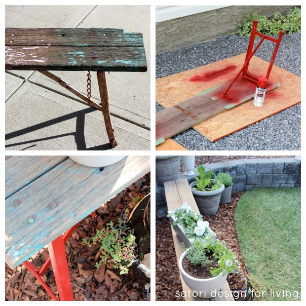 Outdoor Paint Project - Salvaged Bench Makeover with Red Spray Paint - Container Garden | satori design for living
