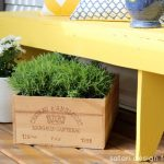 Spring Front Porch - Cottage Style - Yellow Bench with Wine Crate Planter - SatoriDesignforLiving.com