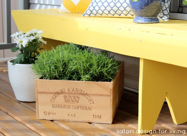 Spring Front Porch - Cottage Style with Vintage Finds - Rustic Yellow Bench with Wine Crate Planter - SatoriDesignforLiving.com