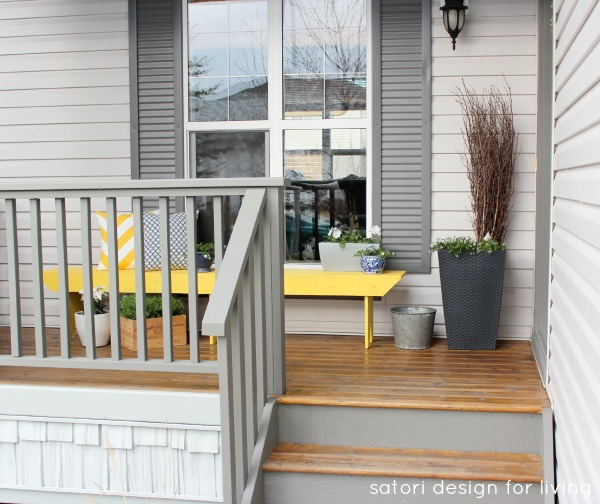 Spring Front Porch Decorating Ideas - Cottage Style - Yellow and Blue Front Porch Decor - Grey Front Porch